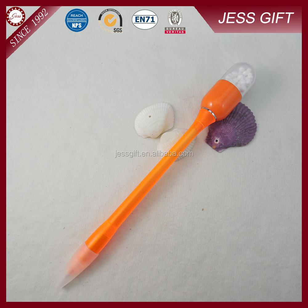 Alibaba chine pas cher promotionnel Orange stylo à bille avec perles aromatiques