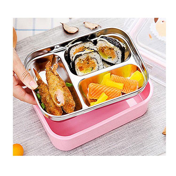 3 vano di plastica e in acciaio inox scatola di pranzo, bento contenitore di alimento
