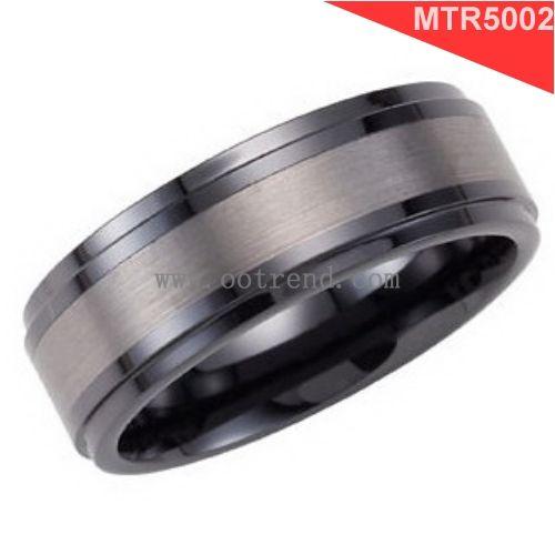 Бесплатный аллергии анти-царапины щеткой вольфрама инкрустированные черным карбида вольфрама кольцо для человека моды