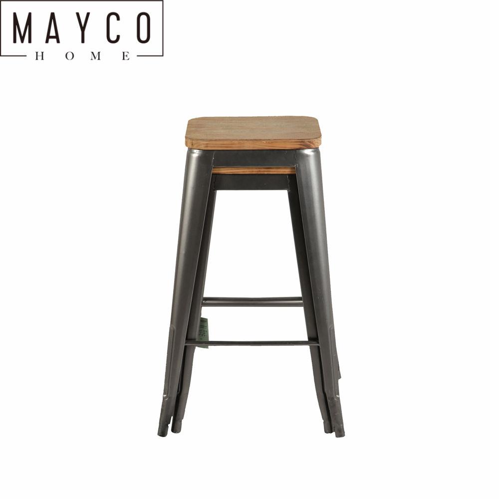 Mayco 산업 두 세트 나무 좌석 금속 바 <span class=keywords><strong>의자</strong></span> 실내 야외 스택
