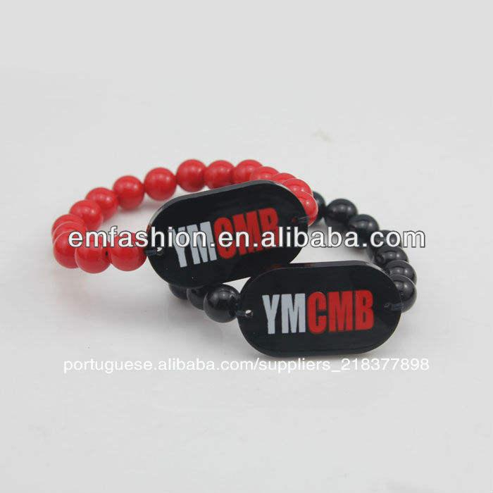 hip hop atacado boa madeira pulseira homem acrílico esferas pulseira bracelete ymcmb