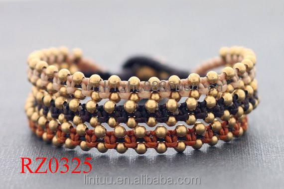 Nouveau Design Belle arc-en-couleur cire cordon noeud bracelet Tri Bande or en laiton temple cloche Bracelet
