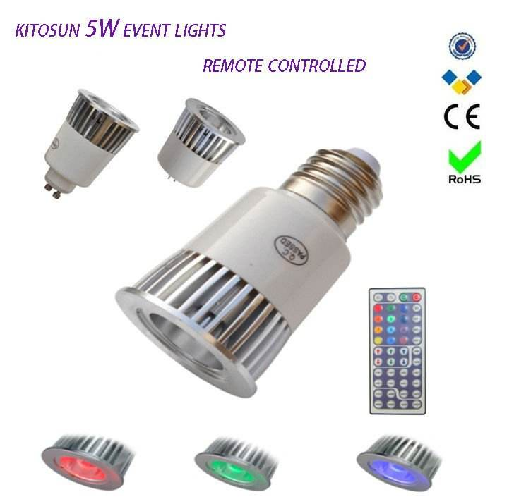 Elaborate Super bright memory function best quality Remote-controlled 5W RGB LED Spot light