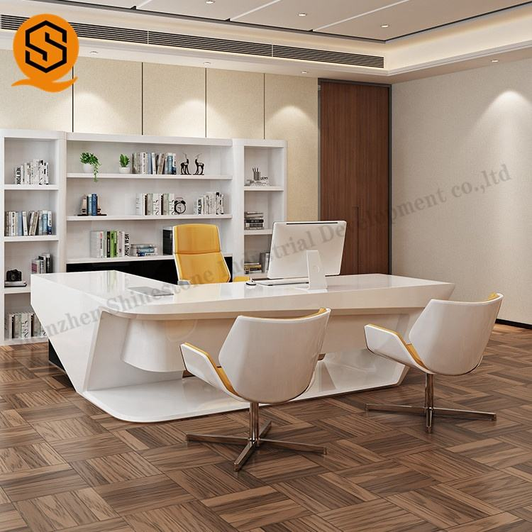 White modern curved executive office table solid surface oval ceo unique desk office desks