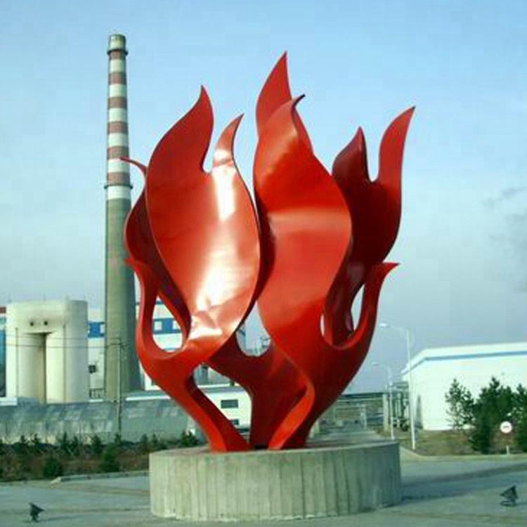 한 수 제 304 급 큰 플라자 듯 Red Stainless Steel 코디 시 Flame Style Sculpture