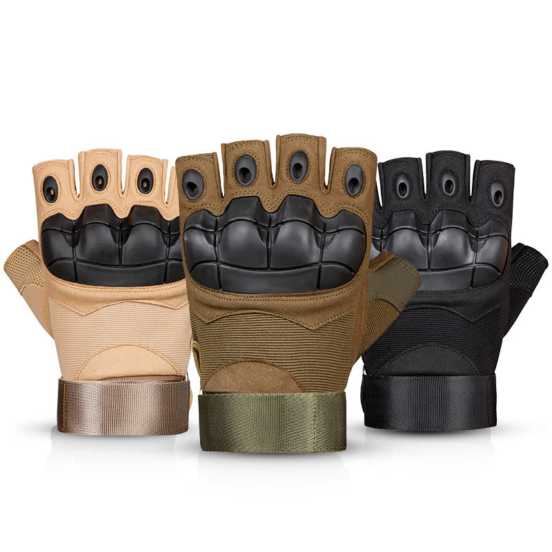 Wholesale military army man fingerless shockproof training gloves