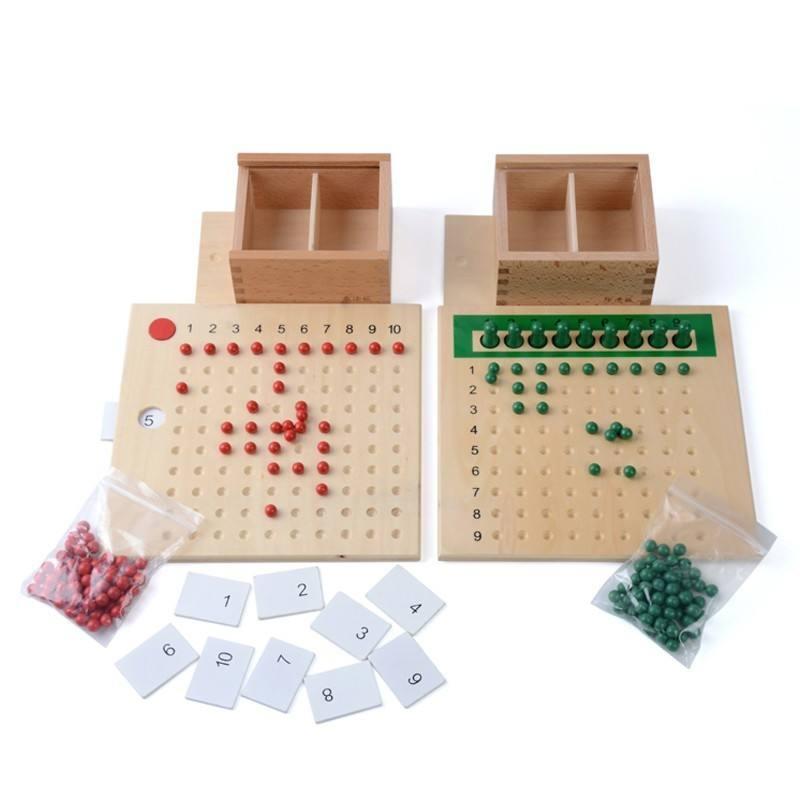 Ferramentas de ensino de matemática montessori Preschool brinquedos de madeira com contas