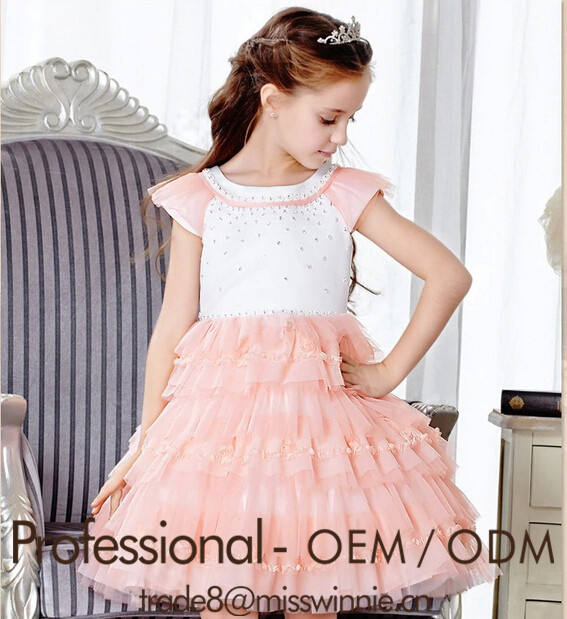 De alta classe meninas lace rhinestone vestido de manga curta crianças vestido de princesa vestido de festa vestido