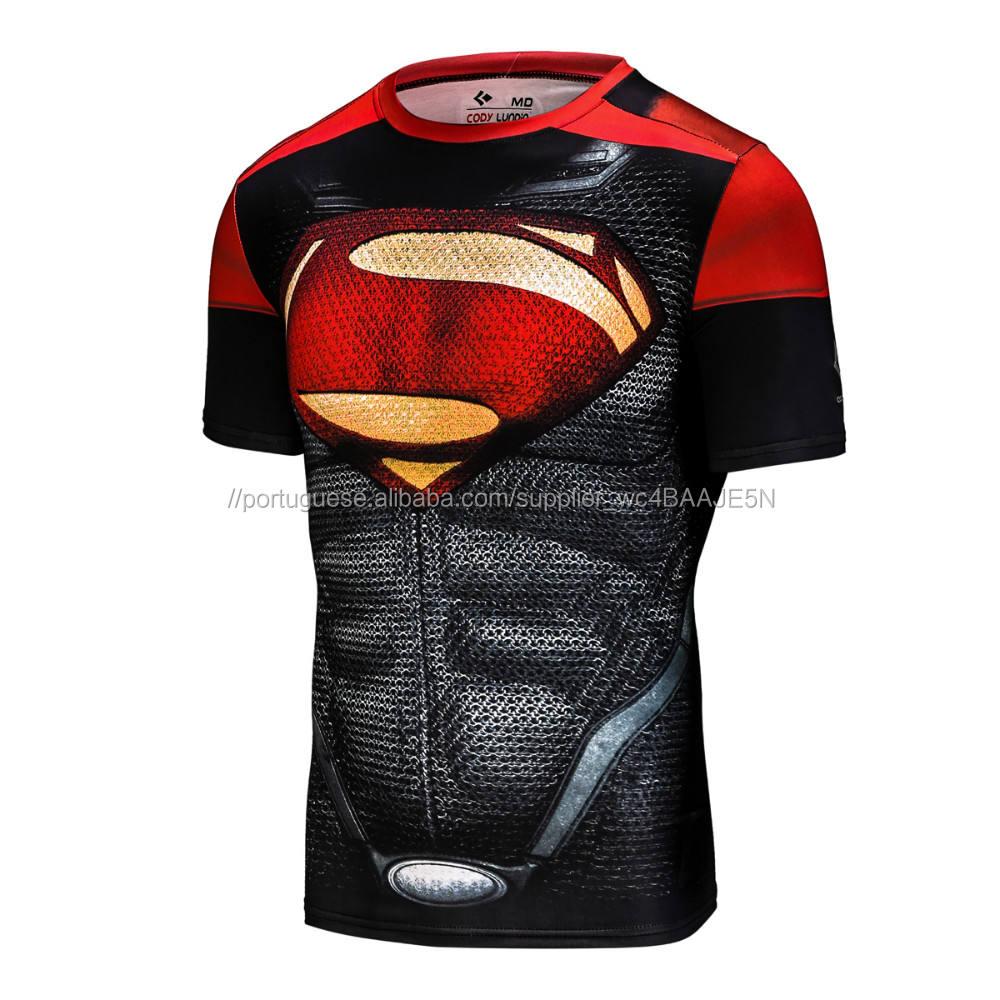 impressão Por Sublimação 3D superman T-shirt de fitness compressão dry fit manga curta Tops
