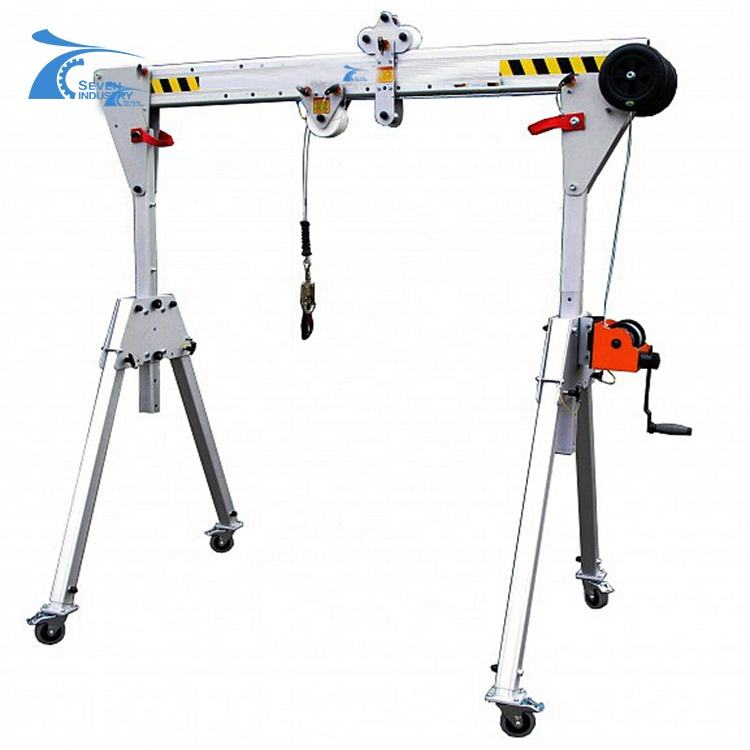 0.2ton -5ton Mini Mobile Adjustable Lifting Machine With Hand Chain Block Aluminum Gantry Crane Portable