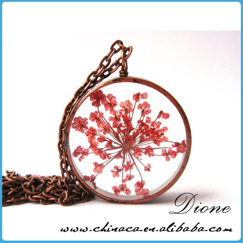 Atacado elegante feito à mão arredondamento forma resina jóias flores reais MOQ pequeno DIY cristal resina Real pressionado flor