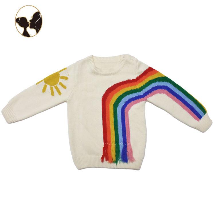 2018 последний ребенок мальчиков радуги длинный рукав свитер детей дизайн детская одежда