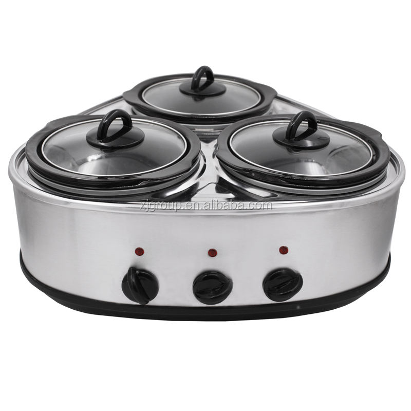 3x1.5L Electric stainless steel manual triple slow cooker 22826