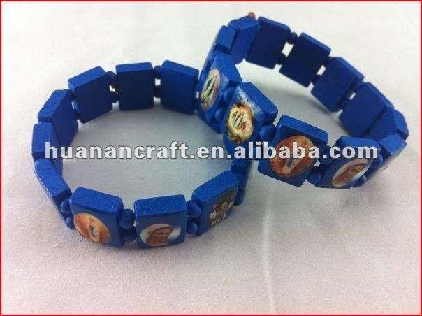Кристиан тканые синие деревянные бусины браслет с изображением