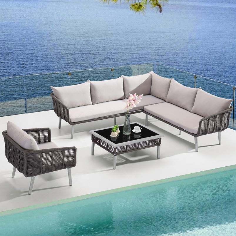 De mimbre al aire libre conjunto de sofá de muebles de lujo cama redonda