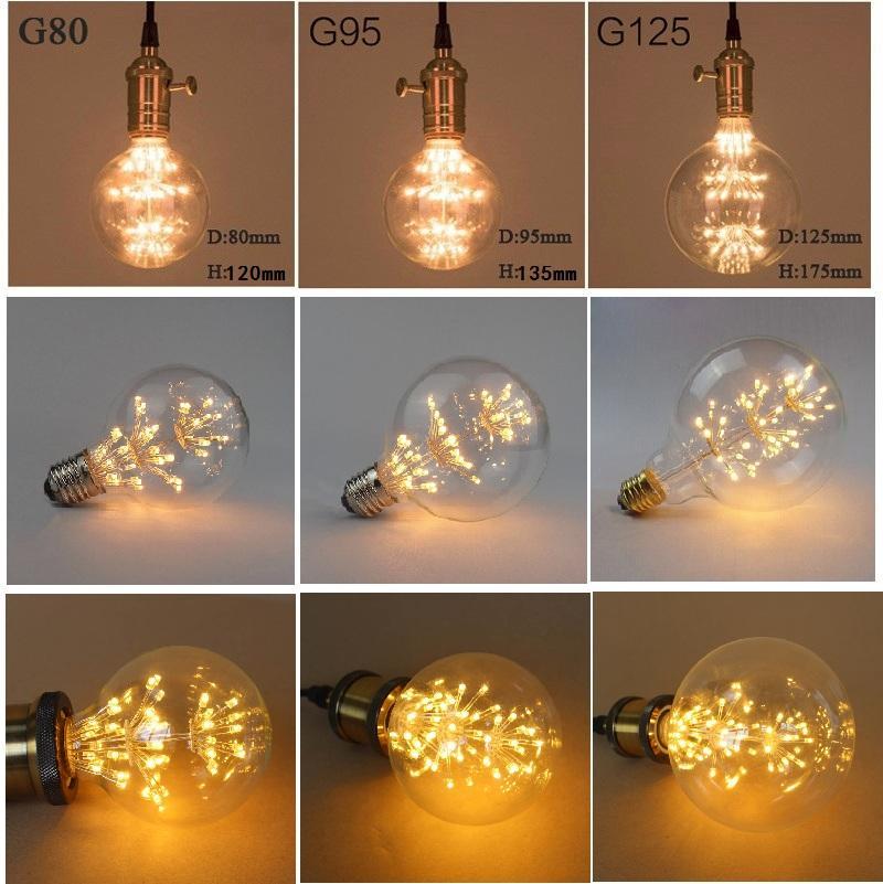 E27 Старинные Лампы Ретро Эдисон Лампы 2 Вт 3 Вт 110 В 220 В СВЕТОДИОДНЫЕ Лампочки Накаливания G80 G95 G125 Фейерверк Лампы Укра