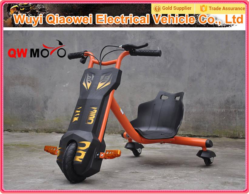 2015 populares <span class=keywords><strong>QWMOTO</strong></span> certificación EN71 orange 3 wheel 100 W a la deriva Scooter Mini eléctrico niños a la deriva de la bici