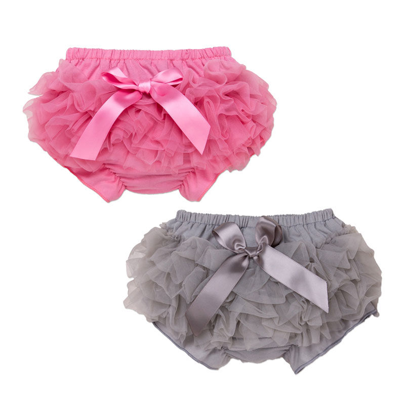 Baby Ruffle Bloomers with Bow Newborn Girl Shorts Sunmate Wholesale Infant and Toddlers Girls Cotton Lace Tulle Baby Bloomer
