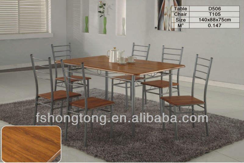Madera y hierro forjado mesa de comedor, antigua mesa de comedor de mármol, parte superior de mármol mesa de comedor
