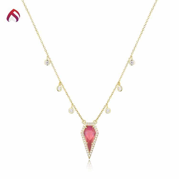 Venda quente das mulheres 925 colar de casamento de prata esterlina com cz branco e rosa de vidro pedra