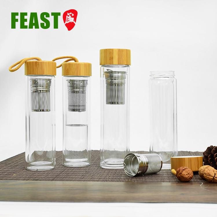 Botella de vidrio de doble pared con tapa de bambú y colador, sin BPA, seguro, borosilicato