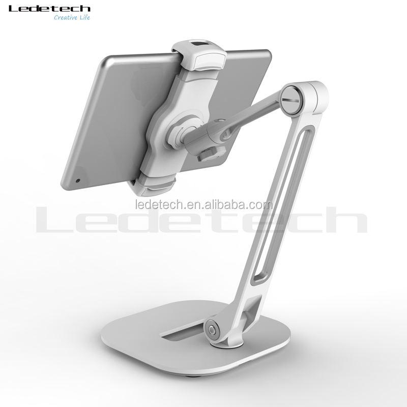 Ergonomico pigro staffa pieghevole del silicone base in metallo girevole smartphone pad piedi tablet holder