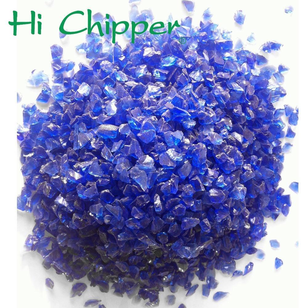 Синего стекла рок цветное стекло рок для украшения сада