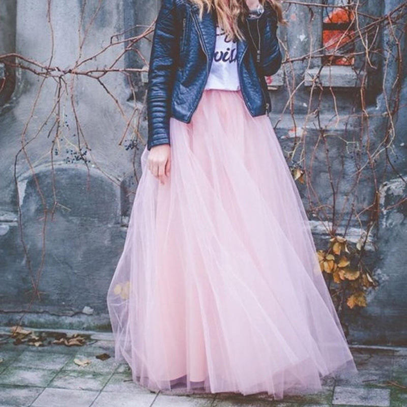 ZH2466G 2018 Spring Fashion Womens Princess Fairy Style 4層Voile Tulle Skirt Bouffant Puffy Skirt Long Tutu Skirt