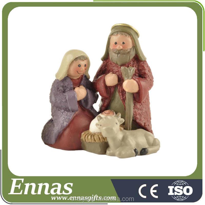 Resina Presépio de Natal <span class=keywords><strong>Conjunto</strong></span> com a Sagrada Família-Mary, Joseph, bebê Jesus