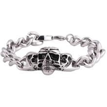 Fashion custom jewelry punk style skull stainless steel chain bracelet