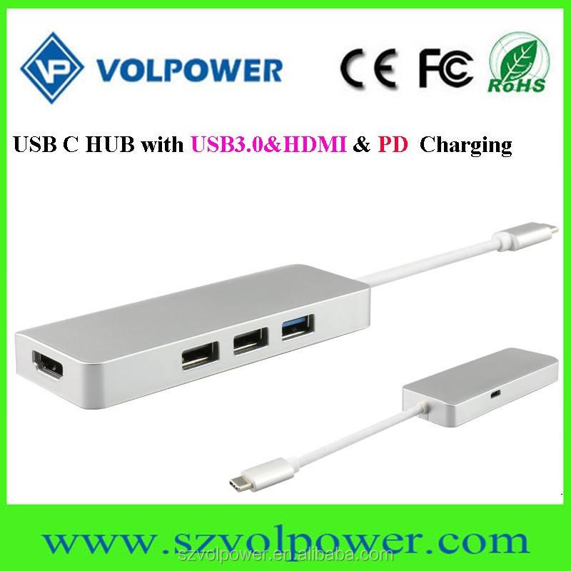 Productos innovadores 2017 C800 Tipo c usb-hub 12 v con 4 puertos USB3.0 1 H DMI