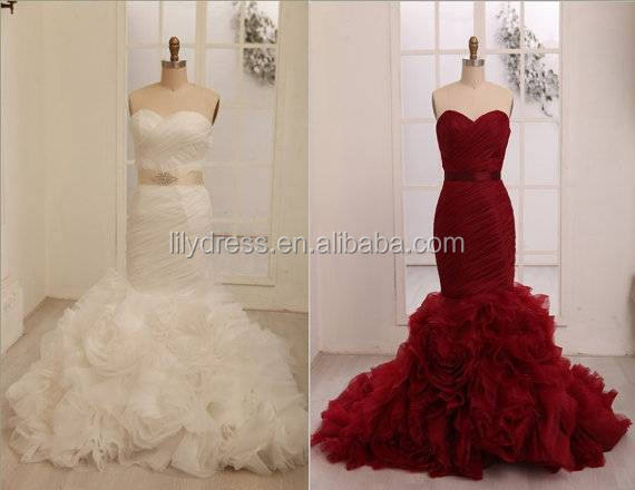 Mermaid Real Made Pictures Floor Length Custom Made Long Formal Bridal Gown Manufacturer BW321 ruffled bottom wedding gowns