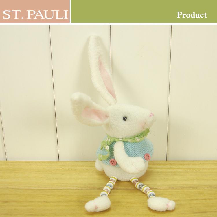 6 pulgadas de color blanco puro de pascua pascua sentado <span class=keywords><strong>conejo</strong></span> de peluche de juguete para la venta