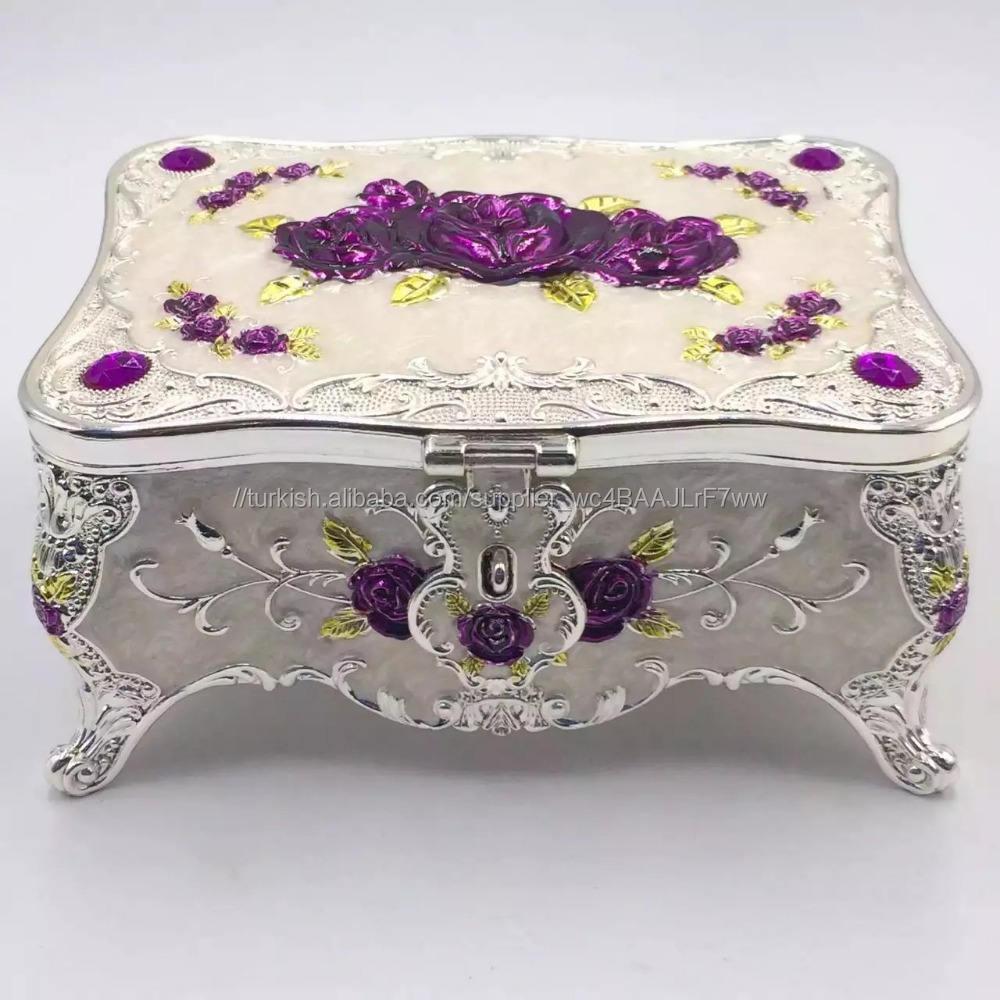 Döküm çinko alaşım gümüş jewel gül lady hediyeler için logo ile kutusu