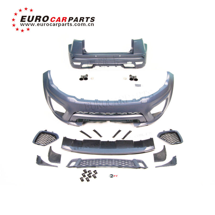 HOT! range PP material body kits for Evoqu change into SVR style with front bumper rear bumper and muffler tips11~15y