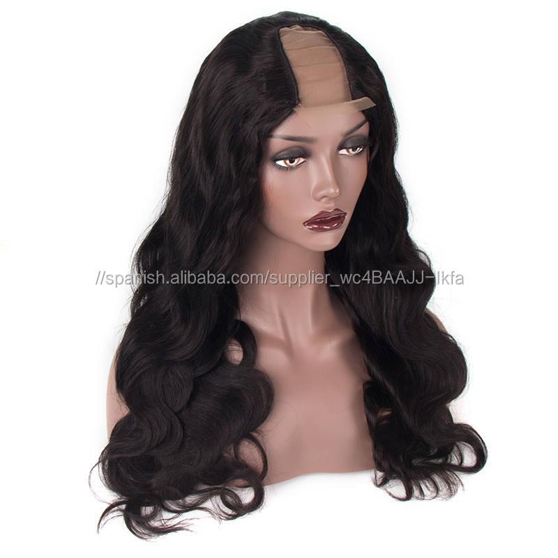 <span class=keywords><strong>Peluca</strong></span> de cabello humano indio Remy de la onda del cuerpo U parte pelucas delanteras de encaje