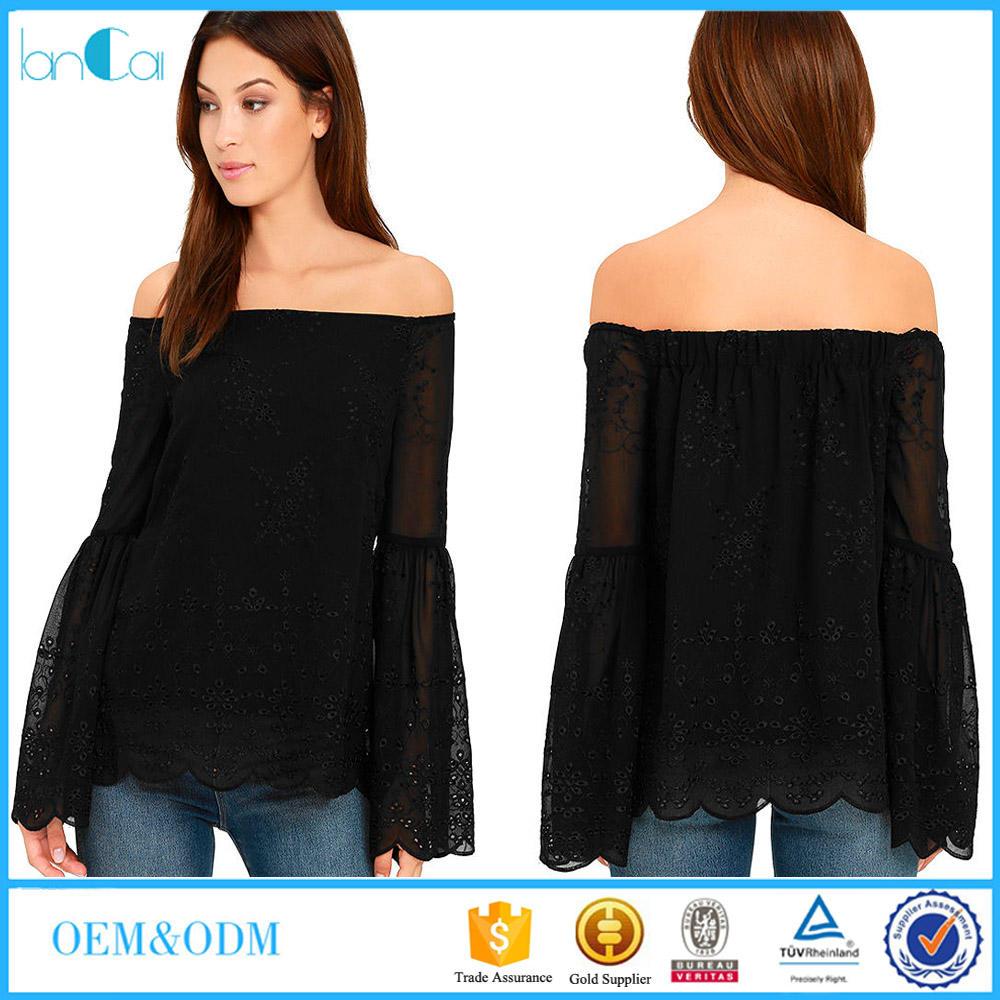 Rotura ropa manga de la Llamarada de las <span class=keywords><strong>señoras</strong></span> de la blusa y tops hombro laser negro blusa