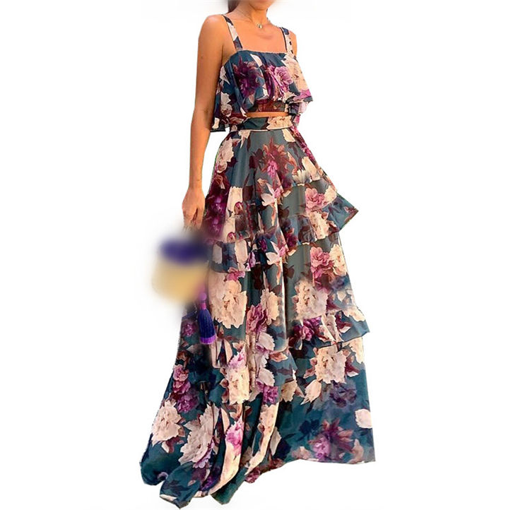 Wholesale two piece crop top and maxi skirt sets layered floral ruffle cake dress