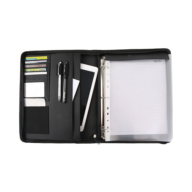 Hot selling a4 pu leather tablet portfolio with ring binder