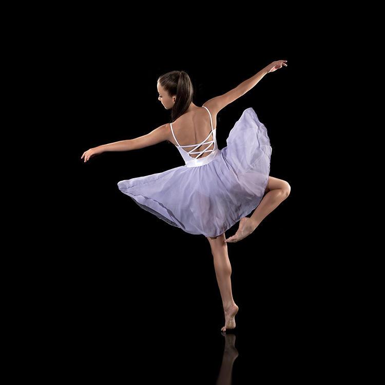 高品質の綿スパンデックスレディース叙情的な社交ダンスの競技会ドレス