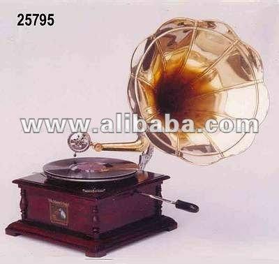 Antique gramophone, gramophone classique, gramophone phonographe, ancien record joueur, lecteur de disque en bois
