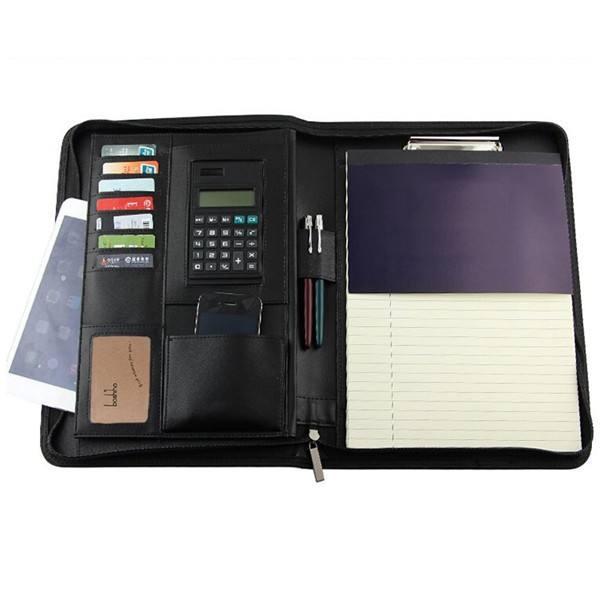 Boshiho impresionante regalo de la alta calidad A4 con cremallera cuero de la pu cartera / carpeta con calculadora
