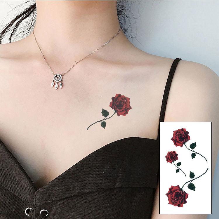 Atacado cor red rose blossom flor <span class=keywords><strong>marca</strong></span> de moda de nova temporária henna tatuagem adesivos à prova d' água