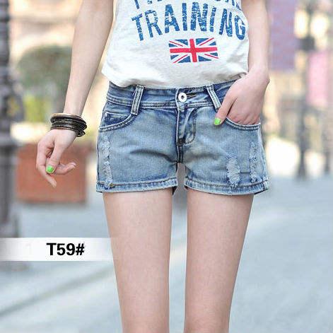Venta al por mayor cosecha la mujer pantalones cortos, pantalones vaqueros cortos del agujero, pantalones de jean