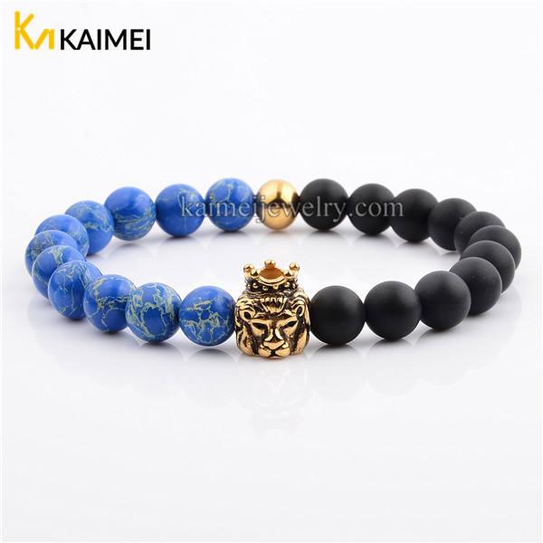 Natural Stone Beaded Black or Silver Skull Bracelet 8mm Blue Imperial Jasper