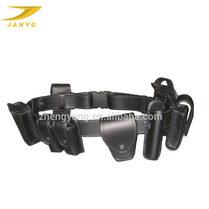 Custom high quality weightlight factory cool black lack military police duty belt leather