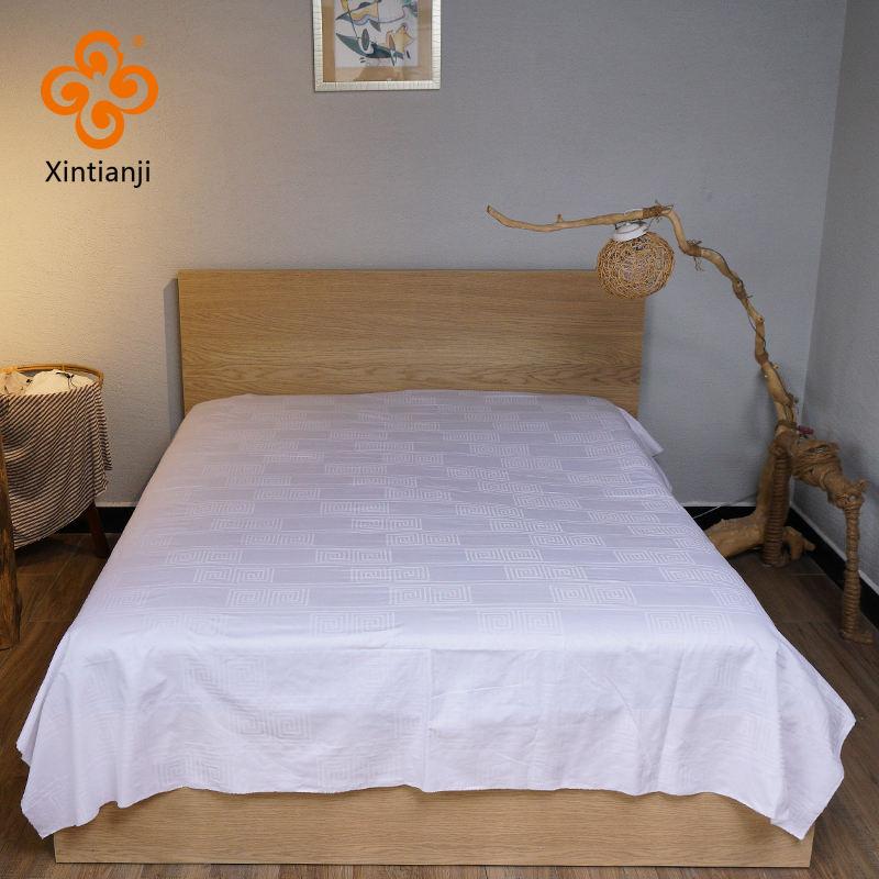 Confortável branco tecido têxtil 100% algodão folha de cama do hotel e em casa