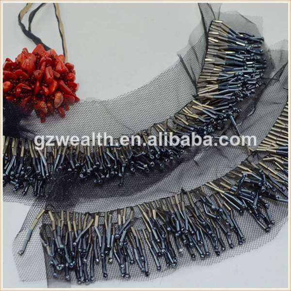 nueva moda de diseño de vidrio de mostacillas trim apliques para decoración de la señora con clarín del grano al por mayor