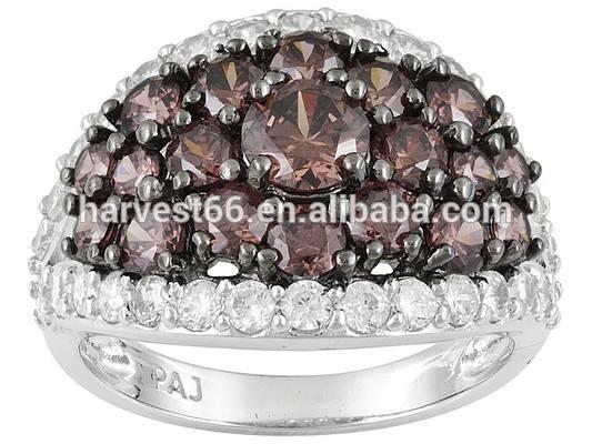 5.35 CTW moka <span class=keywords><strong>bianco</strong></span> e, anello in argento sterling placcato rodio