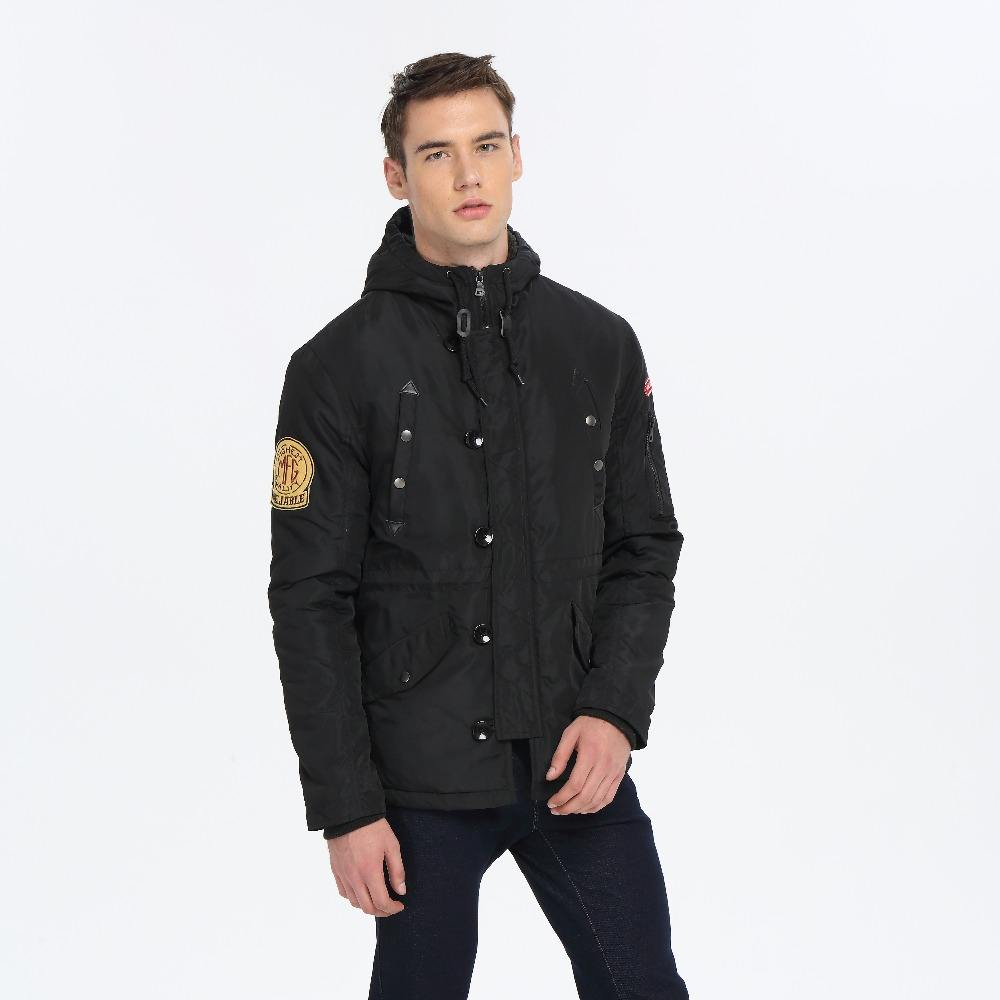 Мужская зимняя куртка с капюшоном с моды патч